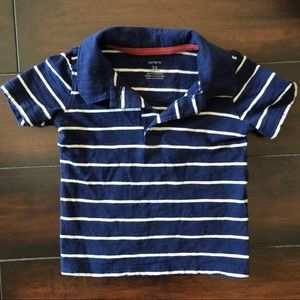 Navy blue & white striped polo (24M)